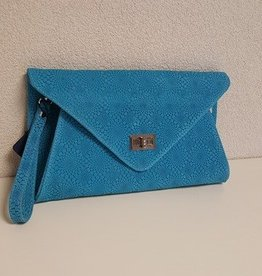 Guiliano suede/ lederen clutch, blauw