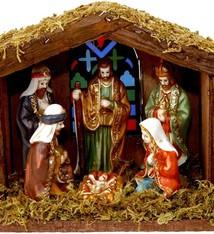 Kerststal met verlichting