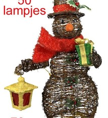 Rotan sneeuwman-figuur met lampjes (70cm)