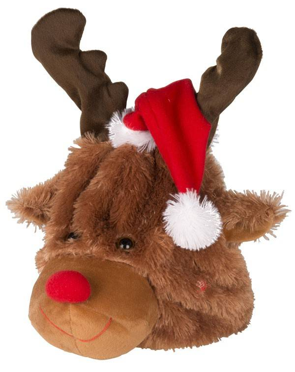 Pluche kerstmuts-rendier 24cm (bewegend en zingend)