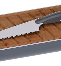 Excellent Houseware Stokbroodbox met snijplank en broodmes grijs