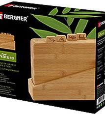 Bergner Bamboe snijplankenset in houder