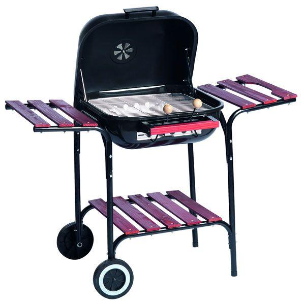 BBQ Collection Verrijdbare stalen barbecue met zijtafels