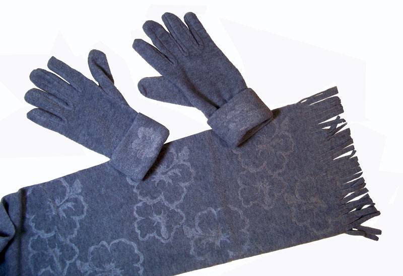 Cadriano Fleece sjaal met handschoenen (grijs)