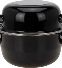 Excellent Houseware Mosselpan 20cm emaille zwart