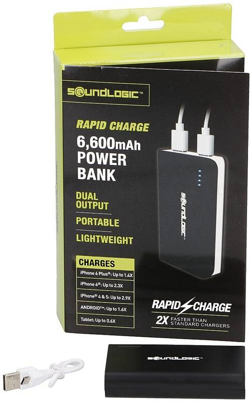 Soundlogic Powerbank - 6600mAh - Rapid charge