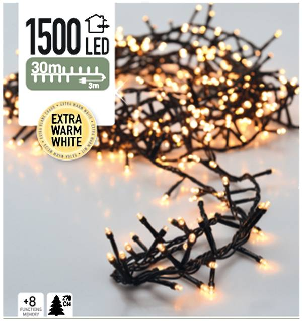 DecorativeLighting Micro Cluster 1500 LED's 30 meter warm wit