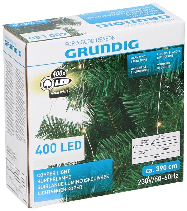 Grundig Lichtsnoer koper 400 LED - warm wit - 8 functies