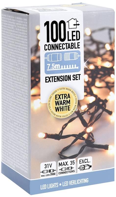Koppelbare Kerstverlichting - 100 LED - 7.5m - warm wit