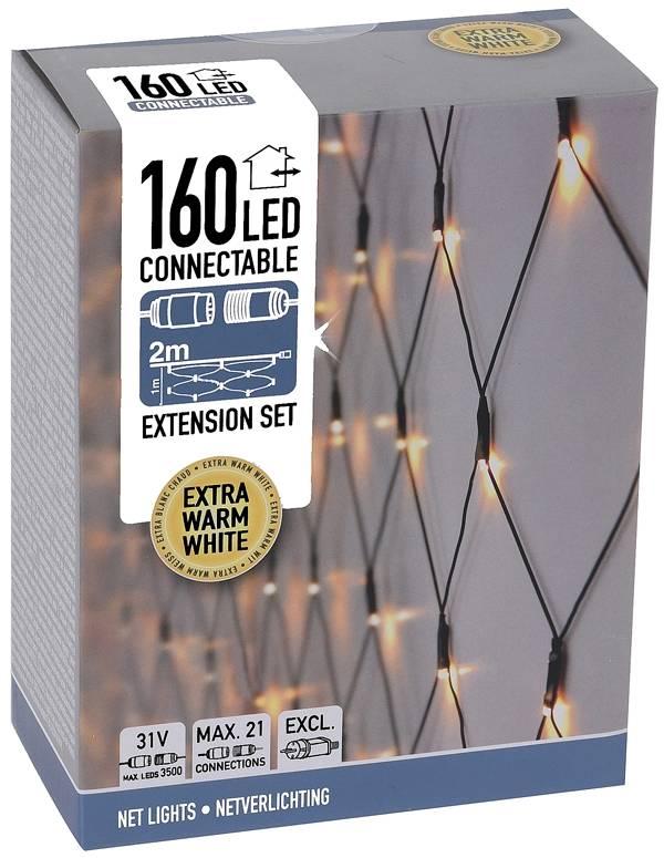 Koppelbare Netverlichting - 160 LED - 2m - warm wit
