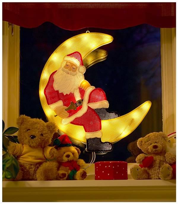LED Raamdecoratie Kerstman-maan - 40 cm - 20 LED