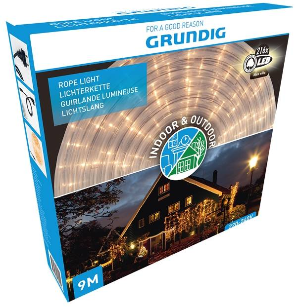 Grundig Lichtslang 9 meter - 216 LED - warm wit