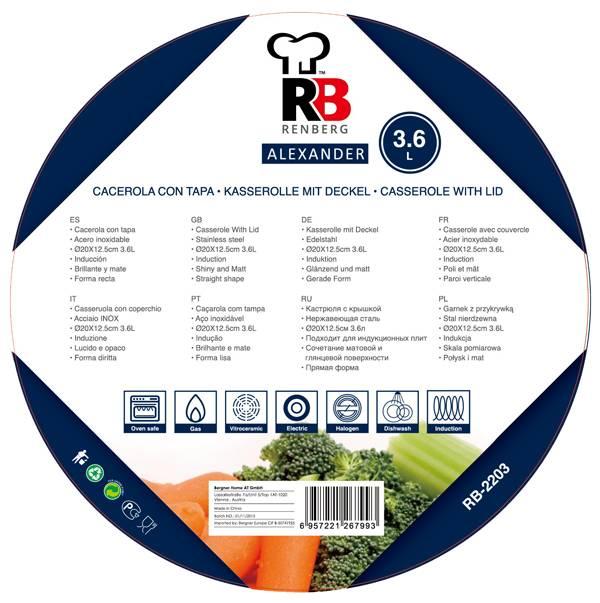 Renberg RVS kookpan  20cm - 3,6 liter