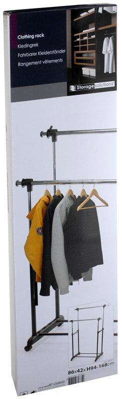 Storage Solutions Verrijdbaar dubbel kledingrek 86x42x94/168cm