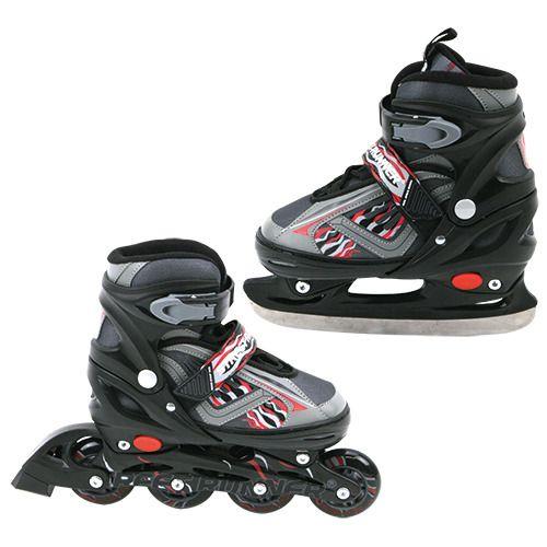 Basic Inline Skate/Schaats 2in1 Abec 7 Zwart Maat 31-34