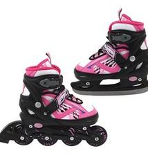 Basic Inline Skate/Schaats 2in1 Abec 7 Roze Maat 35-38
