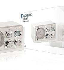 König König HAV-TR1200 Draagbare Retro MP3/Smartphone/Tablet Radio Wit