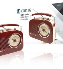 König König HAV-TR710 Retrodesign AM/FM Radio - Bruin
