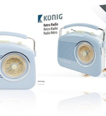 König König HAV-TR710BU Retrodesign AM/FM Radio Blauw