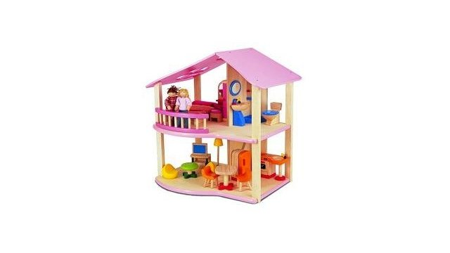 Pintoy Pintoy My First Home Houten Poppenhuis Roze + Inrichting + 2 Popjes
