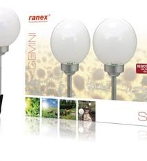 Ranex Ranex Ra-5000391 Led Solar Tuinlamp Op Spies met Afstandsbediening 2-pack Zilvergrijs Wit Kunststof