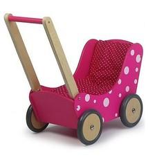 Simply for Kids Simply for Kids Houten Poppenwagen Stippeltje Roze