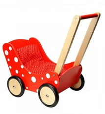 Simply for Kids Simply for Kids Houten Poppenwagen Stippeltje Rood