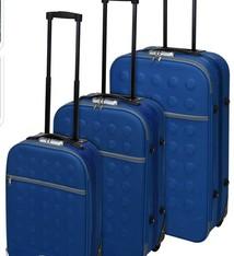 ProWorld Reiskoffers met slot 3-delig blauw
