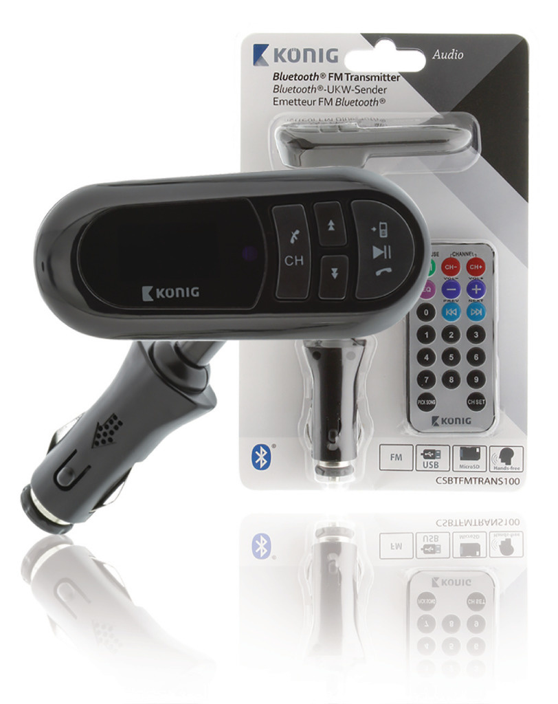 König König CSBTFMTRANS100 Auto Audio Transmitter Bluetooth + Microfoon Zwart