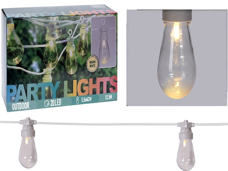 Feestverlichting - 20 lamps - helder - warm-wit