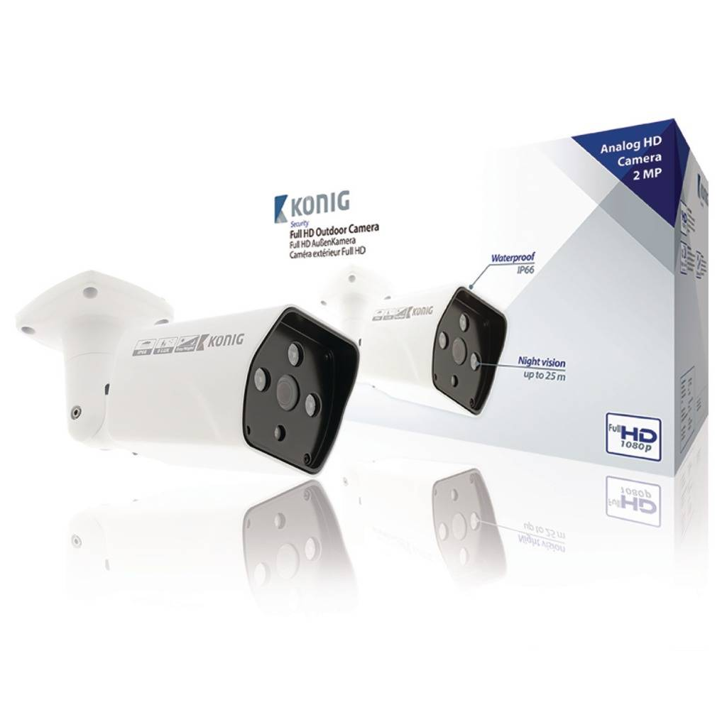 König SAS-AHDCAM12 Full Hd Bullet Beveiligingscamera Ip66 Wit