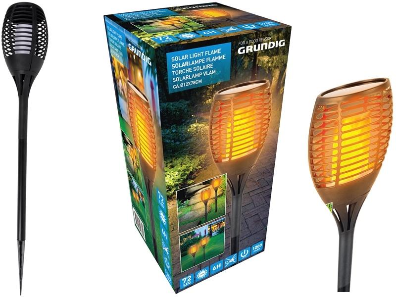 Grundig Solar LED tuinlamp met vlam-effect