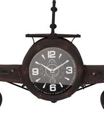 Home & Styling Retro wandklok vliegtuig metaal - zwart - 143x20x46cm