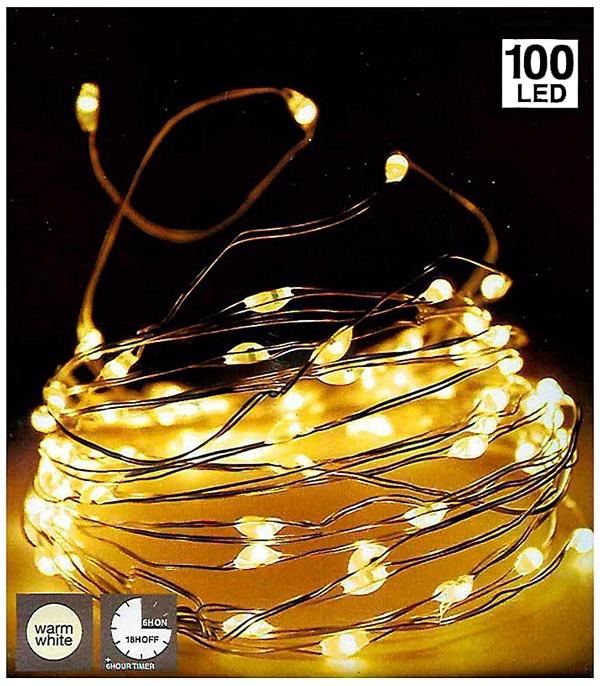 DecorativeLighting Zilverdraad 100LED - met timer