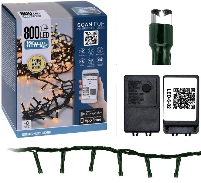 DecorativeLighting Micro Cluster met App bediening - 800 LED's - 16 meter - extra warm wit