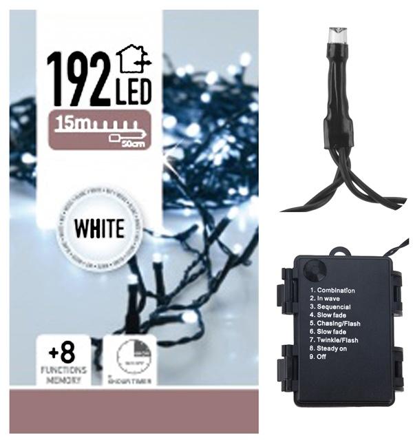 DecorativeLighting Kerstverlichting 192 LED's - wit - op batterij