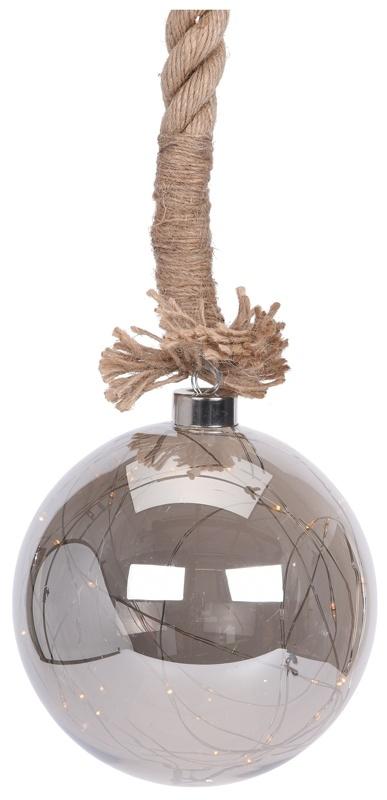 Ceruzo Glazen bal met 30 LED's - 15cm - jute touw 100cm