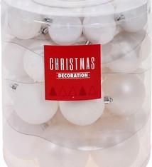 Kerstballenset - 44 stuks plastic - mat wit