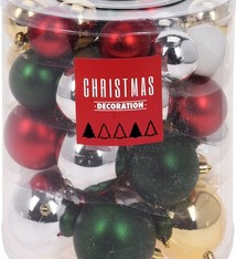 Kerstballenset - 44 stuks plastic - traditional mix