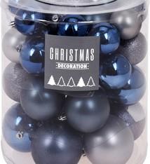 Kerstballenset - 44 stuks plastic - blauwgrijs