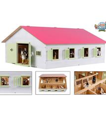 Kids Globe Kids Globe Horses Houten Paardenstal met 7 Boxen Roze/Wit 1:24