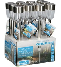 Grundig Grundig GR16017 Led Solar Tuinlamp met Spies Display 12 Stuks