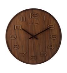 NeXtime NeXtime NE-3096BR Wandklok Dia. 35 Cm, Hout, Bruin, 'Wood Wood Medium'