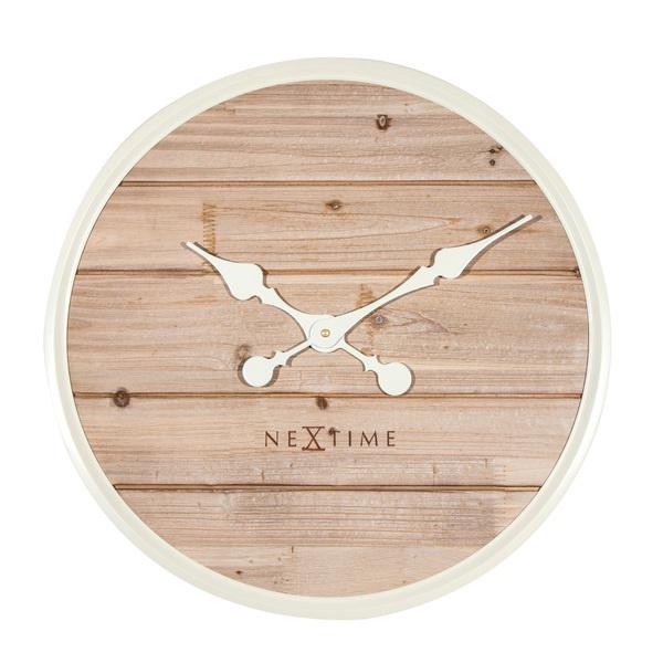 NeXtime NeXtime NE-3134WI Wandklok Dia. 50 Cm, Hout, Wit, 'Plank'