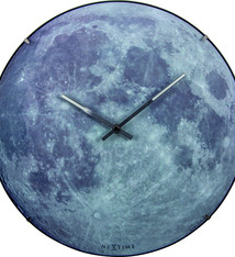 NeXtime NeXtime NE-3164 Wandklok Dia. 35 Cm, Bol Glas, 'blauw Moon Dome'