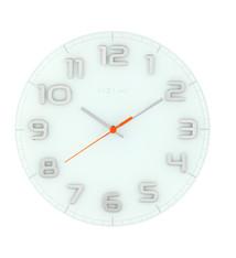 NeXtime NeXtime NE-8817WI Wandklok Dia. 30 X 3.5 Cm, Glass, White, 'Classy Round'