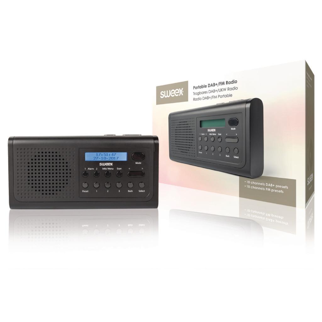Sweex Sweex SWDABR100BK Draagbare Dab+ Radio Dab+ / Fm Zwart