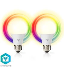 Nedis Nedis WIFILC20WTE27 Slimme Wi-fi-led-lampen Full-colour En Warm-wit E27 2-pack