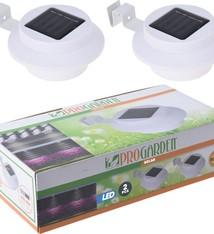 ProGarden Solar schutting- en dakgootlamp - 3 leds - set van 2