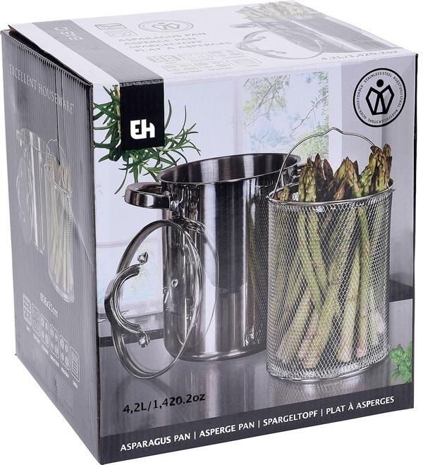 Excellent Houseware Aspergepan met glazen deksel - 4.2 liter